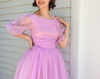 Vintage Pink Prom Dress 50s 60s Party Formal S
