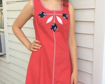 Red Summer Dress Vintage Full Skirt Cotton XL Plus Toni Todd