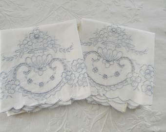 Vintage Pillowcases White Wedgewood Blue Cutwork Embroidery