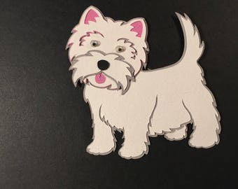 Very Cute Terrier Dog Diecuts - Set of 3 - Bazzill Cardstock - Shadowed