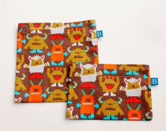 Reuseable Eco-Friendly Set of Snack and Sandwich Bags in Monsters Fabric