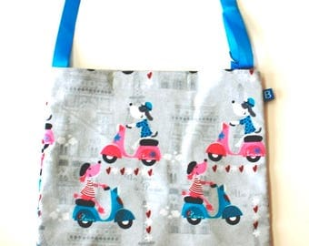 Washable, Eco-Friendly Car Trash Bag in Parisian Dogs on Scooters Fabric