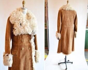 Vintage 1970s SHEARLING & suede coat