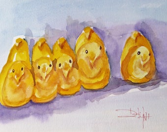 Candy chicks peeps Easter candy watercolor still life 9x12 Art by Delilah