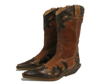 Vintage Destroy Womens Western Couture Cowgirl Boots Brown Leather Inlay Southwestern Boho Cowboy Boots Fits Women US Size 8  Made In Spain