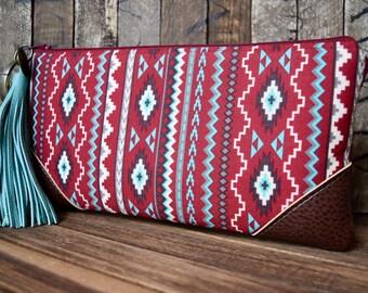 Large Wristlet, Tribal Print Wristlet, Tribal Wristlet, Vegan Wristlet, Tribal Bag, Smart Phone Wallet, Smart Phone Wristlet, Tribal Bag
