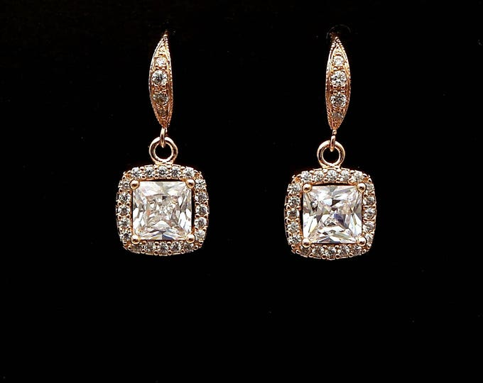 wedding jewelry bridal jewelry wedding earrings bridal rose gold earrings prom clear white square cushion princess cut cubic zirconia hook