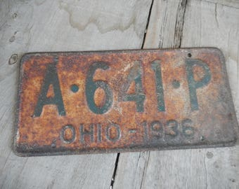 Vintage License Plate 1936 Ohio Rustic Old Metal Sign Rusty Wall Hanging, Cafe, Bar, Saloon, Coffee Shop Rusty Decor AMarigoldLife