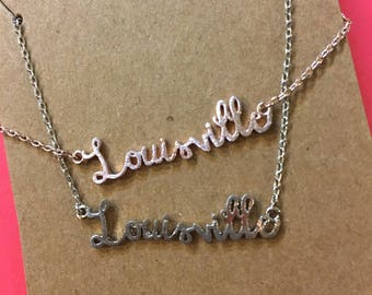 Louisville Script Necklace by Girly -in Silver // Kentucky souvenir // holiday gift idea for her under 20 // stocking stuffer