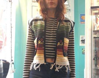 Fringe Mexican blanket baja drug rug vest boxy poncho top jacket  // xxs xs X-small