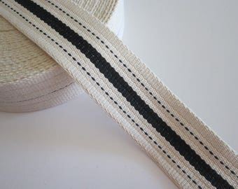 cotton webbing BTY - 2 inches wide - cream with black stripe - great for market bag strap, tote bag handles, etc