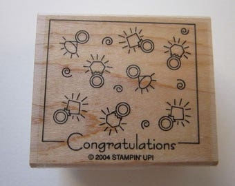 rubber stamp - CONGRATULATIONS engagement ring stamp - Stampin' Up 2004