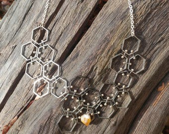 Modern Honeycomb Citrine and Silver Necklace