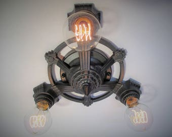 "Vintage Antique Flush Mount Ceiling Light  Art Deco Light  Ceiling Light Farmhouse Decor Three Light 10 3/4"" Diameter"