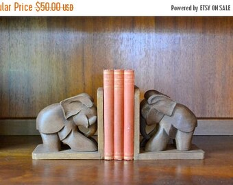 SALE 25% OFF vintage hand made wood elephant bookends / vintage library decor / hand carved hand made wooden home decor