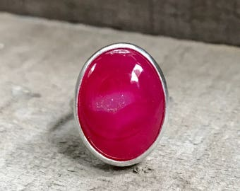 Chunky Edgy Hot Dark Pink Onyx Druzy Sterling Silver Ring | Drusy Ring | Druzy Ring | Boho | Rocker | Fuchsia Pink Gemstone Ring