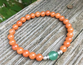 Aventurine gemstone Beaded Meditation Stretch Bracelet, yoga bracelet, orange green silver
