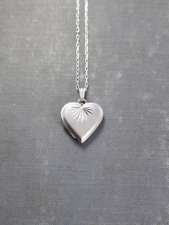 Silver Locket Necklace, Heart Shaped Photo Pendant - Sparkling Sunshine