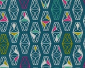 Cotton and Steel Lagoon Lively Lanterns Dark Teal Fabric by the Half Yard