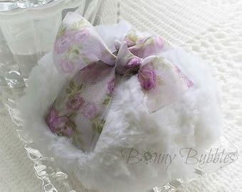 Lavender Powder Puff - soft lilac and white powderpuff - organza bath pouf - gift box option - handmade by BonnyBubbles