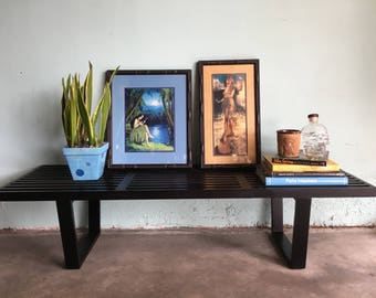 MID CENTURY MODERN Black Slatted Wood Bench (Los Angeles)