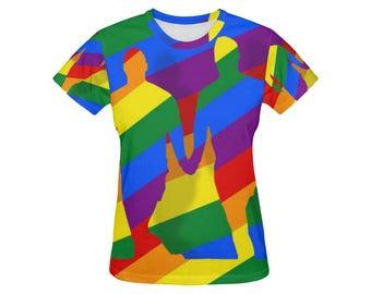 Love is Love! Womens Tee | Bright Rainbow Print Top | LGBTIQ Pride | Size XS S M L XL 2XL | Stretch Easy Fit | Unique Designer Fashion