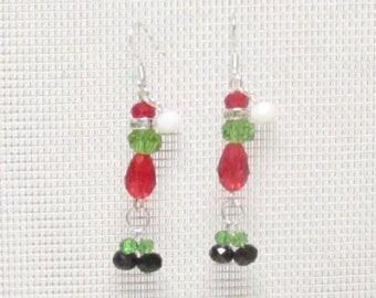 """Crystal Grinch Earrings #E2203GR 2"""" Grinch Earrings"""