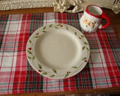 Vintage placemats red and white plaid placemats vintage Christmas kitchen table linens home decor country style rectangle placemats