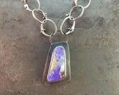 ON SALE 20% OFF Koroit Opal Cabochon Heat Rivet Chain Sterling Silver Metalwork Necklace Pendant