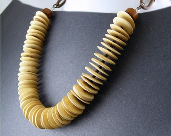 Natural Wood Necklace on Brown Rubber Cord