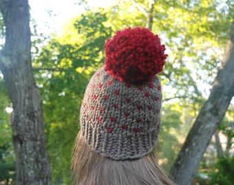 Fair Isle Knit Hat, Red Fair Isle Hat, Women's Hat, Pom Pom Hat, Winter Hat, Hand Knit Hat, Knit Hat, Chunky Knit Hat, Custom Knit Hat