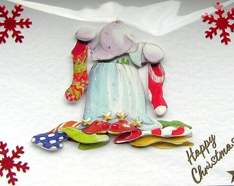 Christmas Card, Happy Christmas Hand Crafted 3D Decoupage Card, Happy Christmas (1892), Layered Card, Xmas Card