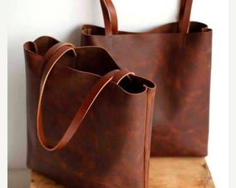 summer sale Brown Leather Tote Bag - brown leather bag - Distressed Brown Leather Travel Bag - Leather Market bag