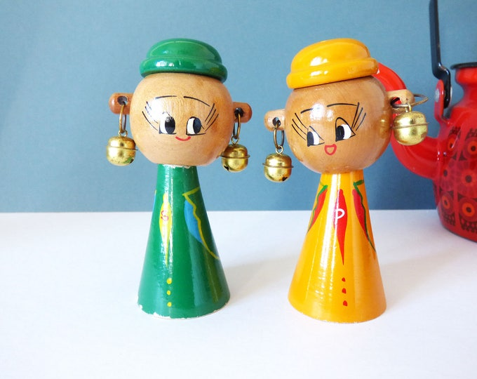 Wooden Vintage Characters salt and pepper pots