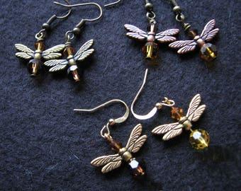 Firefly earrings |  swarovski bicone | crystal earrings | dangle | insect earrings | wings | topaz | nature inspired