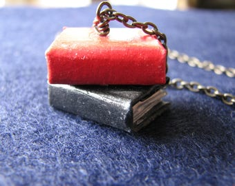 Miniature book necklace | library | stacked | book lover gift | jewelry | worm | final sale
