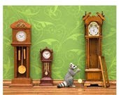 FALL SALE Woodland animal raccoon diorama art print: Clockwork