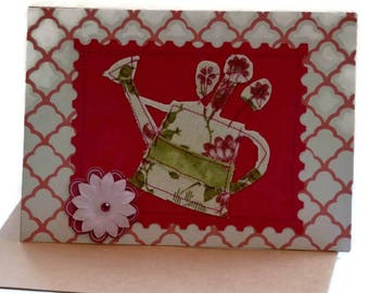 Free Motion Stitched Fabric Applique Greeting Card