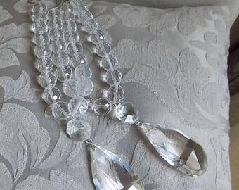 PAIR OF crystal beaded tiebacks with crystal drop pendant, decorative tiebacks