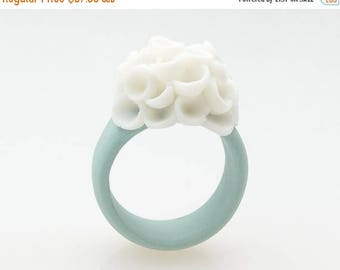 SALE Flower Statement Ring , Porcelain Cocktail Ring Pastel Turquoise  , Cluster White Flowers - El Medano Handmade Jewelry Floral  Rings fo