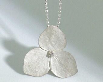 Silver Hydrangea necklace