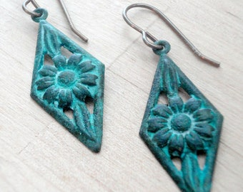 Verdigris Patina Floral Drop Earrings - Patina Jewelry - Verdigris Green - Patina Earrings - Bohemian Jewelry - Gift for Her