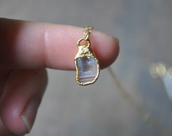 Tiny Geode Necklace in Gold - Single Stone Layering Necklace - One of a Kind