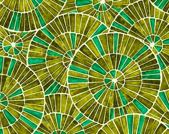 Zola from Ink and Arrow Fabrics - Full or Half Yard Mosaic in Avacado - Modern Green Concentric Circles