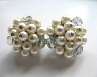 Vintage Cluster Earrings ~ Clip On ~ Pearl & Glass Crystal Beads
