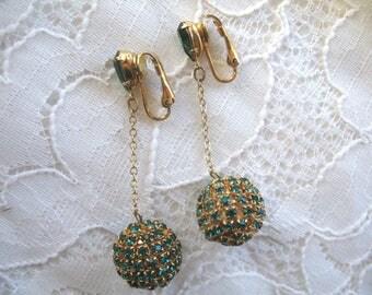Vintage Dangle Rhinestone Earrings ~ Clip On ~ Green Rhinestone Balls