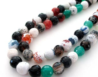 """Agate Round Beads - Mix Color Stone Beads - Faceted Gemstone - Black White Green Brown - 8mm - 16""""  Strand - Diy Jewelry - Necklace Beads"""