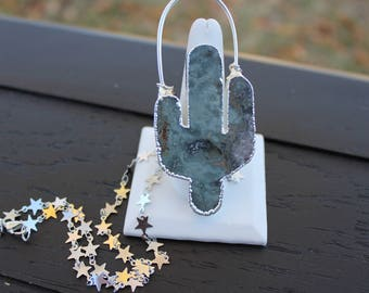 Cactus Necklace Cactus Jewelry Silver Cactus Necklace Electroformed Necklace Star Necklace Boho Necklace Desert Necklace Jasper Tribal Gypsy