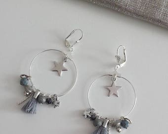 "Earrings ""the starry"" gray and silver"