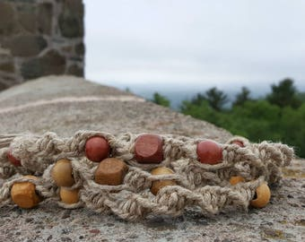 Surfer Phatty Thick Hemp Necklace With Wood Beads Choker